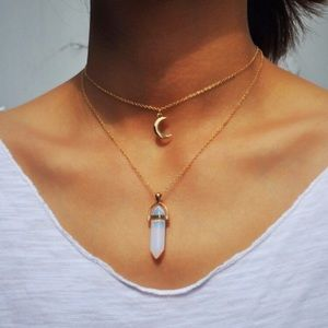 4 for $25 faux crystal moon layered necklace